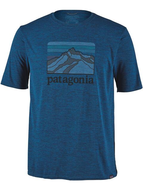 Patagonia M's Cap Cool Daily Graphic T-Shirt Line Logo Ridge/Big Sur Blue X-Dye